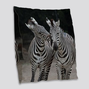 Zebra005 Burlap Throw Pillow