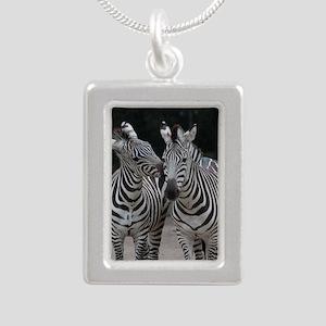 Zebra005 Silver Portrait Necklace