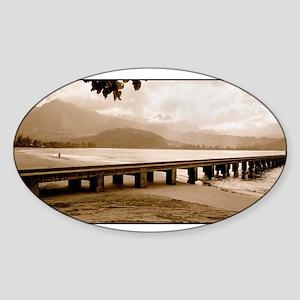 hanalei-bay-pier-rgb-lg Sticker (Oval)