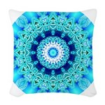Blue Ice Lace Mandala Woven Throw Pillow