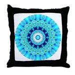Blue Ice Lace Mandala Throw Pillow