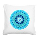 Blue Ice Lace Mandala Square Canvas Pillow