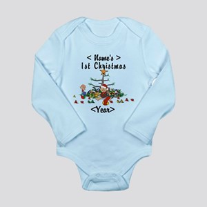 Personalize 1st Christmas Long Sleeve Infant Bodys