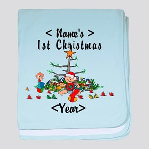 Personalize 1st Christmas baby blanket