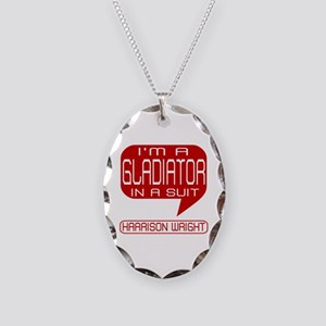 Harrison Gladiator in Suit Necklace Oval Charm