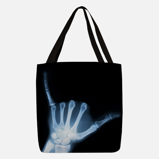 Shaka Hand Sign X-ray ALOHA Polyester Tote Bag