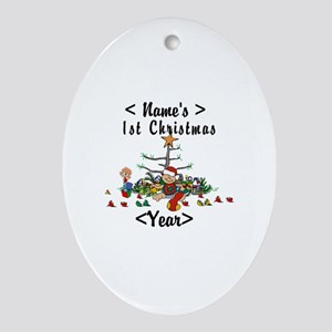 Personalize 1st Christmas Ornament (Oval)
