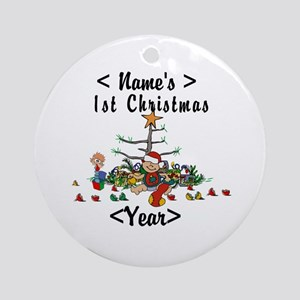 Personalize 1st Christmas Ornament (Round)