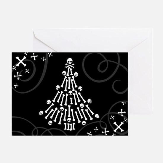 Gothic Bones Christmas Tree Greeting Cards