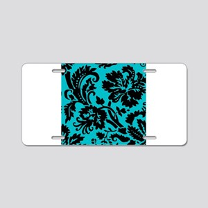 Turquoise and Black Damask Aluminum License Plate