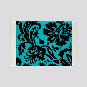Turquoise and Black Damask Magnets