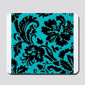 Turquoise and Black Damask Mousepad