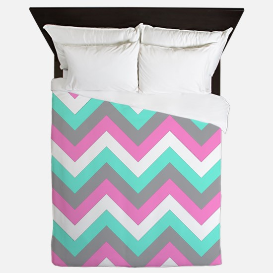 Pink Turquoise Gray White Chevrons Queen Duvet