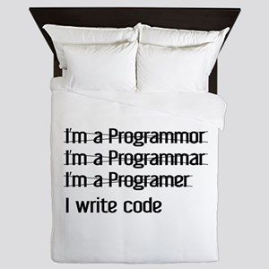I Write Code Queen Duvet