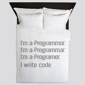 I Write Code Queen Duvet
