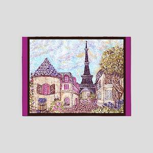 Paris Eiffel Tower pointillism berry brown 5'x7'Ar