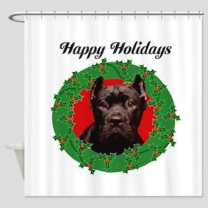 Happy Holidays Cane Corso Dog Shower Curtain