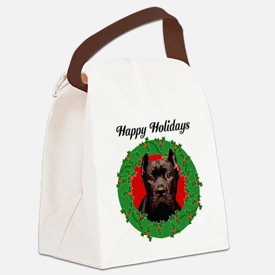 Happy Holidays Cane Corso Dog Canvas Lunch Bag