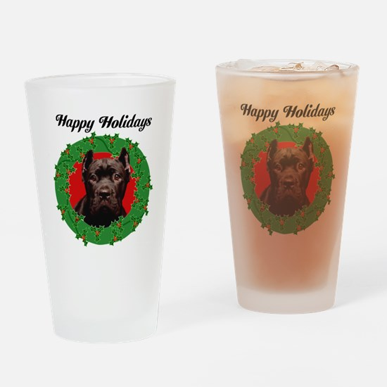 Happy Holidays Cane Corso Dog Drinking Glass