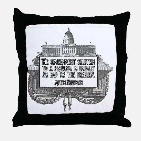 2-Milton Friedman on Government Solut Throw Pillow