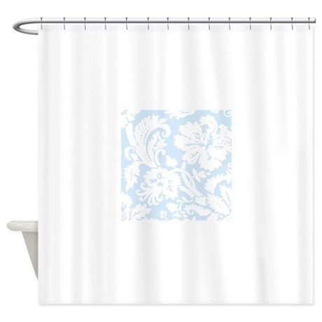 light blue and white damask shower curtain by admin cp49789583. Black Bedroom Furniture Sets. Home Design Ideas
