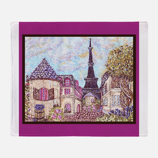Paris Eiffel Tower pointillism berry brown square