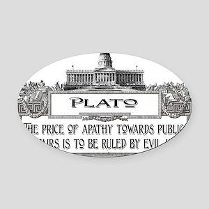 2-Plato on Evil Men lights Oval Car Magnet