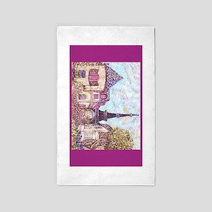 Paris Eiffel Tower pointillism berry for rug 3'x5'