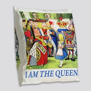 ALICE - I AM THE QUEEN_BLUE Burlap Throw Pillow