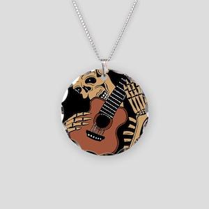 skullguitarcolor2 Necklace Circle Charm