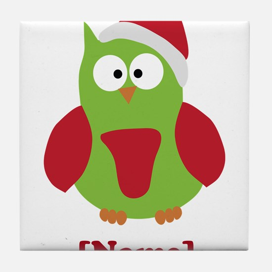 Personalized Christmas Owl Tile Coaster