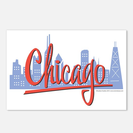 CHICAGO-RED Postcards (Package of 8)