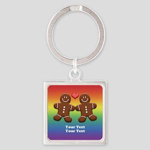 Personalize Gingerbread Men Couple Rainbow Square
