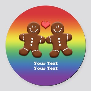 Personalize Gingerbread Men Couple Rainbow Round C