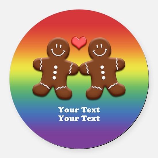 Personalize Gingerbread Men Couple Rainbow Round C