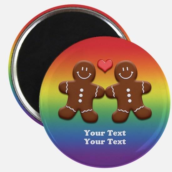 Personalize Gingerbread Men Couple Rainbow Magnet