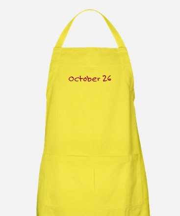 """October 26"" printed on a Apron"