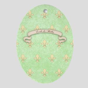 Green Fleur de lis Ecole de ballet J Oval Ornament