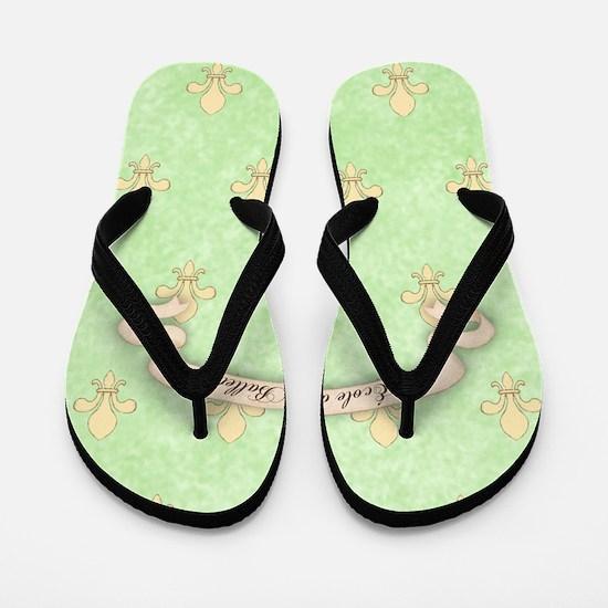 Green Fleur de lis Ecole de ballet Jour Flip Flops