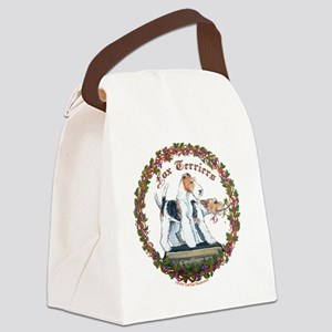 fox squre with vine newest Canvas Lunch Bag