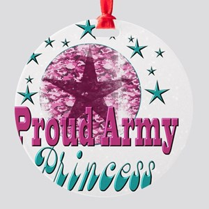 2-Grunge and Stars Princess(kids) Round Ornament