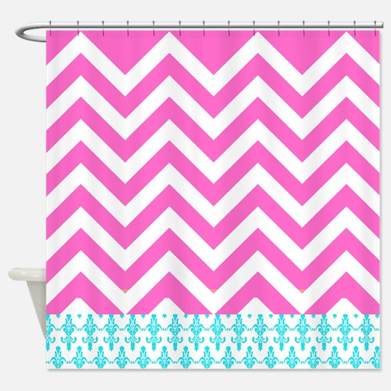 Pink Chevrons and aqua damask pattern Shower Curta