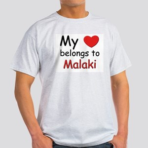 My heart belongs to malaki Ash Grey T-Shirt