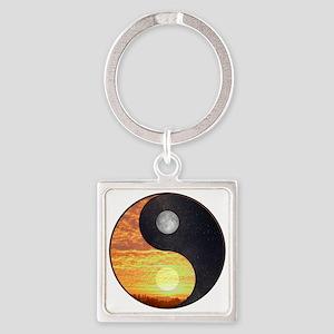 Yin/Yang-Sun /Moon Square Keychain