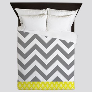 Gray Chevrons And Yellow Damask Pattern Queen Duve