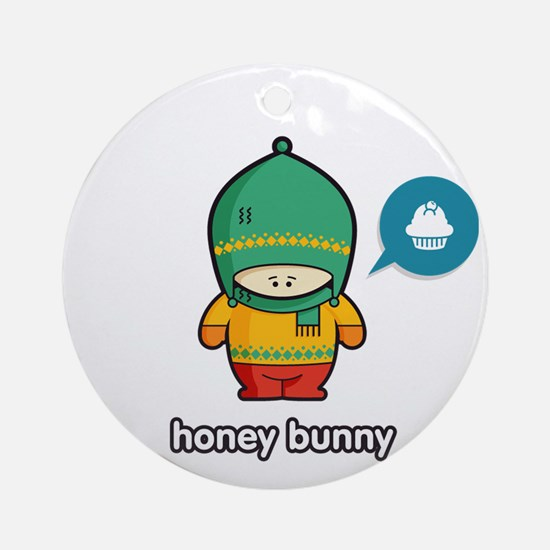 Honey Bunny GRN-RED Round Ornament