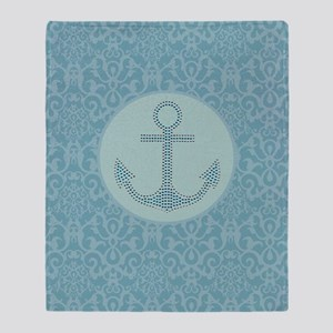 girly nautical anchor blue damask  Throw Blanket