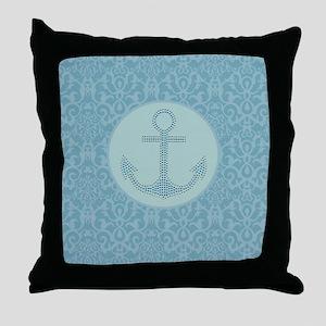 girly nautical anchor blue damask  Throw Pillow