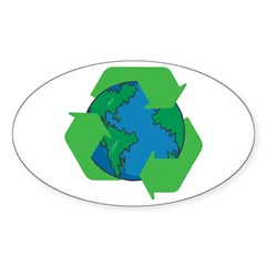 Recycle Earth Oval Decal