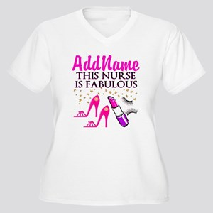 FABULOUS NURSE Women's Plus Size V-Neck T-Shirt
